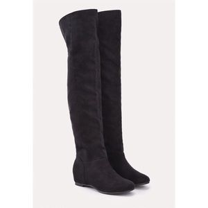 Just fab Merva over the knee black suede boots